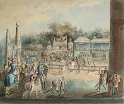 En så kallad karusell på Drottningholm år 1785 av Martin Rudolf Heland (1765-1814)