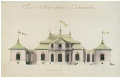 Den andra slottsbyggnaden är ett rokokoslott med kinesiska utsmyckningar. Fasadritning av Carl Fredrik Adelcrantz 1763