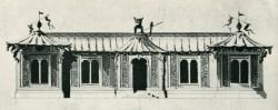 Den första slottsbyggnaden ett litet lustslott i Kina-inspirerad stil ritning av arkitekten Carl Hårleman 1750