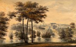 Haga slott innan Brunnsvikens sänkning år 1863 (konstnär okänd)