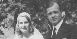 Evert och Ebba vid bröllopet 1943